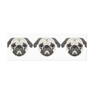 Illustration dogs face Pug Canvas Print