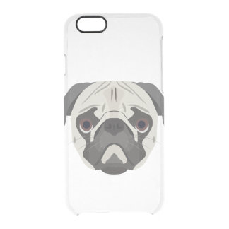 Illustration dogs face Pug Clear iPhone 6/6S Case