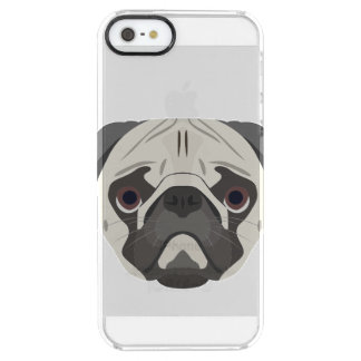 Illustration dogs face Pug Clear iPhone SE/5/5s Case