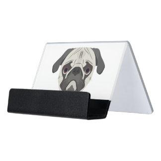 Illustration dogs face Pug Desk Business Card Holder
