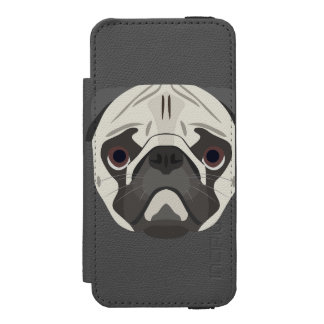 Illustration dogs face Pug Incipio Watson™ iPhone 5 Wallet Case
