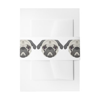 Illustration dogs face Pug Invitation Belly Band
