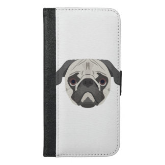 Illustration dogs face Pug iPhone 6/6s Plus Wallet Case