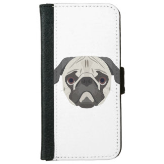 Illustration dogs face Pug iPhone 6 Wallet Case