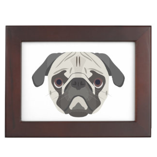 Illustration dogs face Pug Keepsake Box