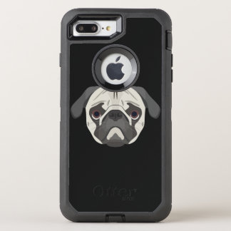 Illustration dogs face Pug OtterBox Defender iPhone 8 Plus/7 Plus Case