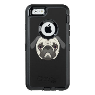 Illustration dogs face Pug OtterBox Defender iPhone Case