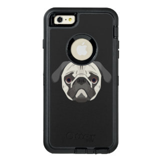 Illustration dogs face Pug OtterBox Defender iPhone Case