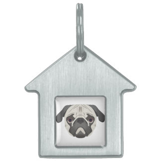Illustration dogs face Pug Pet ID Tag