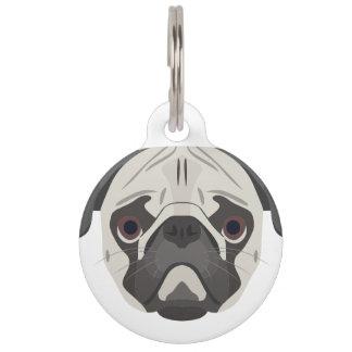 Illustration dogs face Pug Pet Tag