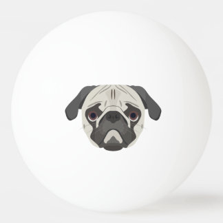Illustration dogs face Pug Ping Pong Ball