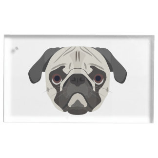 Illustration dogs face Pug Place Card Holder