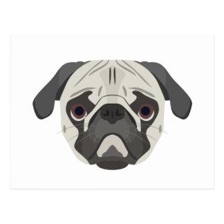 Illustration dogs face Pug Postcard
