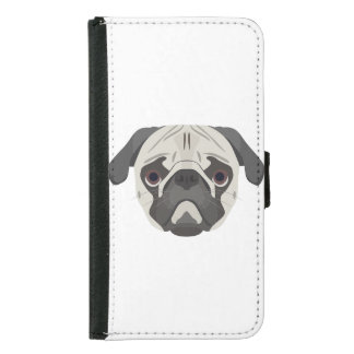 Illustration dogs face Pug Samsung Galaxy S5 Wallet Case