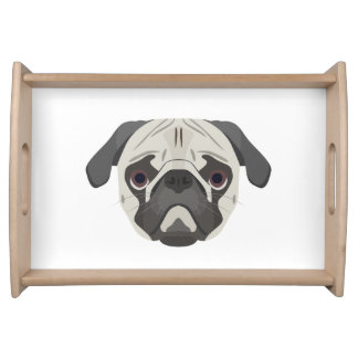 Illustration dogs face Pug Serving Tray