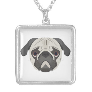 Illustration dogs face Pug Silver Plated Necklace