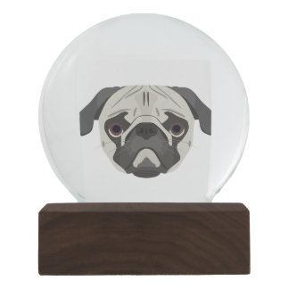 Illustration dogs face Pug Snow Globe