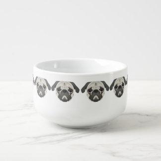 Illustration dogs face Pug Soup Mug