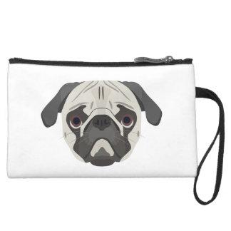Illustration dogs face Pug Suede Wristlet