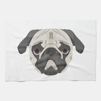 Illustration dogs face Pug Tea Towel