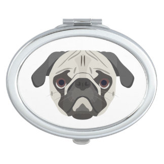 Illustration dogs face Pug Travel Mirror