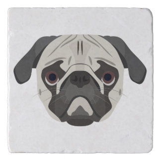 Illustration dogs face Pug Trivet
