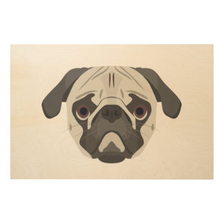 Illustration dogs face Pug Wood Print