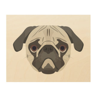 Illustration dogs face Pug Wood Wall Art