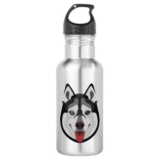 Illustration dogs face Siberian Husky 532 Ml Water Bottle