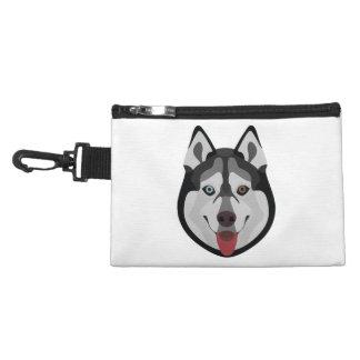 Illustration dogs face Siberian Husky Accessory Bag