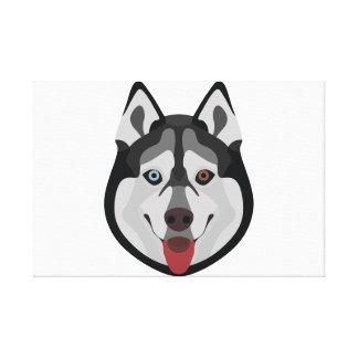 Illustration dogs face Siberian Husky Canvas Print