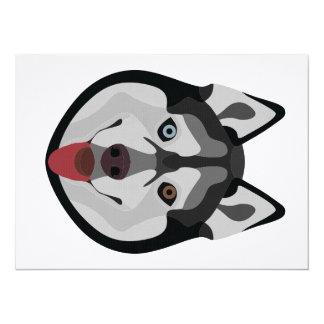Illustration dogs face Siberian Husky Card