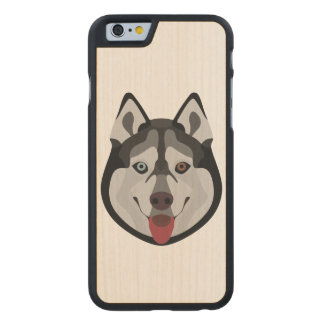 Illustration dogs face Siberian Husky Carved Maple iPhone 6 Case
