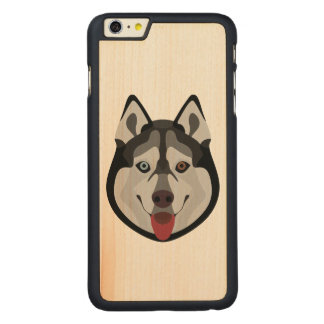 Illustration dogs face Siberian Husky Carved Maple iPhone 6 Plus Case