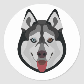 Illustration dogs face Siberian Husky Classic Round Sticker