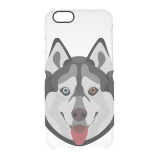 Illustration dogs face Siberian Husky Clear iPhone 6/6S Case