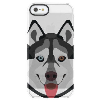 Illustration dogs face Siberian Husky Clear iPhone SE/5/5s Case