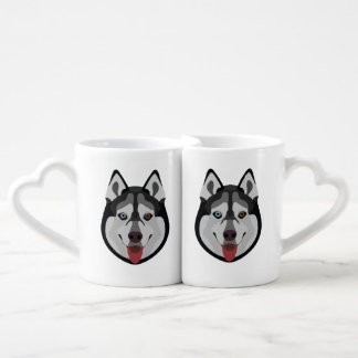 Illustration dogs face Siberian Husky Coffee Mug Set
