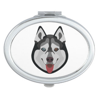 Illustration dogs face Siberian Husky Compact Mirror