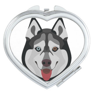 Illustration dogs face Siberian Husky Compact Mirrors