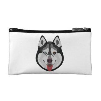 Illustration dogs face Siberian Husky Cosmetic Bag