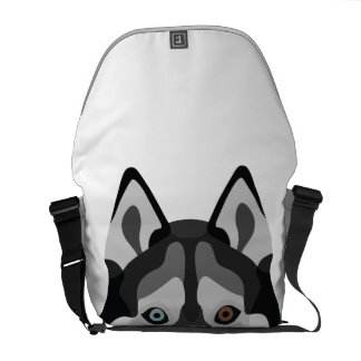 Illustration dogs face Siberian Husky Courier Bag