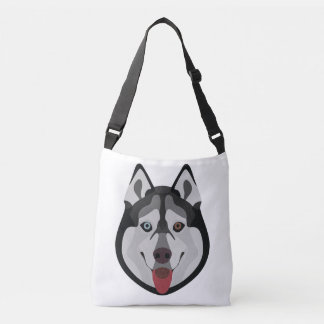 Illustration dogs face Siberian Husky Crossbody Bag
