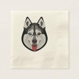 Illustration dogs face Siberian Husky Disposable Napkin