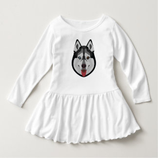 Illustration dogs face Siberian Husky Dress