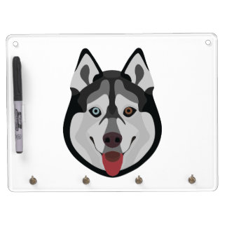 Illustration dogs face Siberian Husky Dry Erase Board With Key Ring Holder