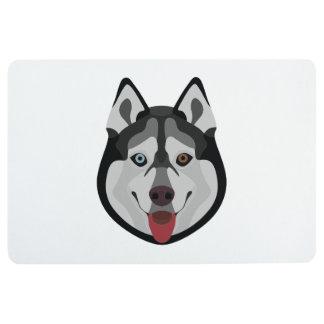 Illustration dogs face Siberian Husky Floor Mat
