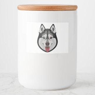 Illustration dogs face Siberian Husky Food Label