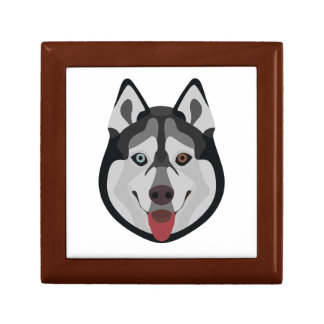 Illustration dogs face Siberian Husky Gift Box