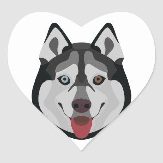 Illustration dogs face Siberian Husky Heart Sticker